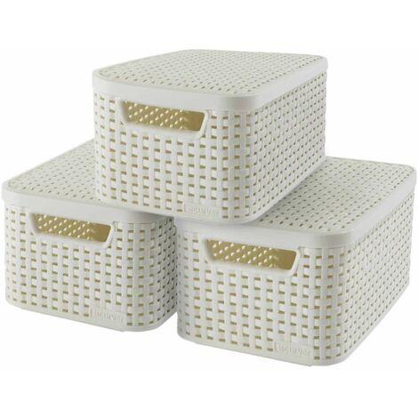 Curver Boîte de rangement Style avec couvercle 3 pcs S Blanc 240586