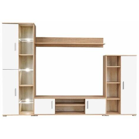 Meuble TV Mural avec Lumières LED Chêne Sonoma et Blanc