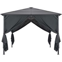 Tonnelle avec rideau Aluminium 3x3 m Noir