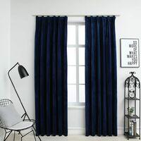 Rideaux occultants et crochet 2pcs Velours Bleu foncé 140x245cm