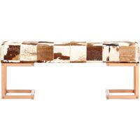 Banc Cuir Véritable de Chèvre 110 cm Marron Patchwork