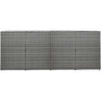 Abri à quatre poubelles Anthracite 305x78x120cm Résine tressée