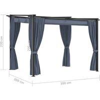 Tonnelle avec rideaux 3x3 m Anthracite Acier