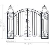 Portillon ornemental de jardin Fer forgé 122x20,5x100 cm