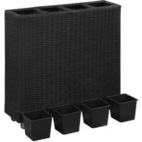 Lit surélevé de jardin à 4 pots 80x22x79 cm Résine Tressée Noir