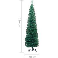 Sapin de Noël artificiel mince avec support Vert 180 cm PVC