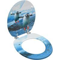 Siège de toilette avec couvercle MDF Design de pingouin