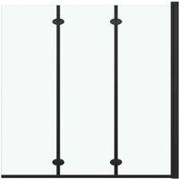 Cabine de douche pliable 3 panneaux ESG 130x138 cm Noir