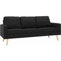 Canapé à 3 Places Tissu Noir