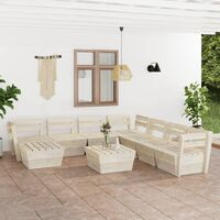Salon de jardin palette 9 pcs Bois d'épicéa imprégné