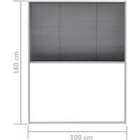 Moustiquaire plissée pour fenêtre Aluminium 100x160 cm