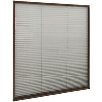Moustiquaire plissée pour fenêtre Aluminium Marron 130x100 cm
