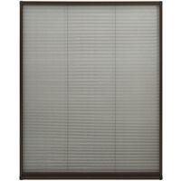 Moustiquaire plissée pour fenêtre Aluminium Marron 100x160 cm