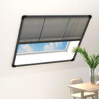 Moustiquaire plissée à fenêtre Aluminium Anthracite 120x120 cm