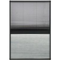 Moustiquaire plissée pour fenêtre Aluminium 110x160cm et auvent