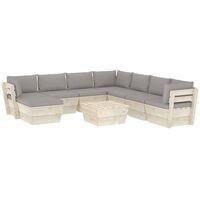 Salon de jardin palette 9 pcs avec coussins Épicéa imprégné