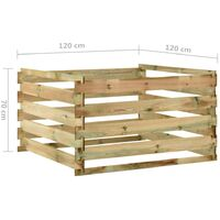 Composteur de jardin à lattes 120x120x70cm Bois de pin imprégné
