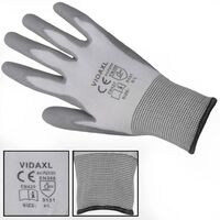 Gants de travail PU 24 paires Blanc et gris Taille 9/L
