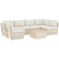 Salon de jardin palette 7 pcs avec coussins Épicéa imprégné