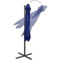 Parasol déporté avec mât et lumières LED Bleu azuré 300 cm