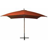 Parasol suspendu avec mât Terre cuite 3x3m Bois de sapin massif