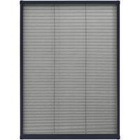 Moustiquaire plissée pour fenêtre Aluminium Anthracite 80x120cm