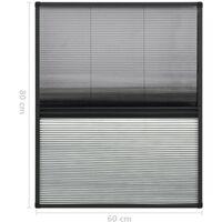 Moustiquaire plissée pour fenêtre Aluminium 60x80cm avec auvent