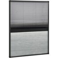 Moustiquaire plissée pour fenêtre Aluminium 80x100 cm et auvent