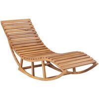 Chaise longue à bascule avec coussin Bois de teck solide