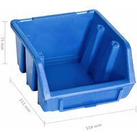 Kit de bacs de stockage et panneaux muraux 48 pcs Bleu et noir