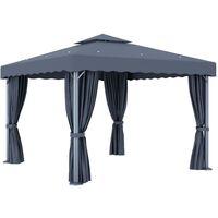 Tonnelle avec rideau et guirlande lumineuse LED 3x3m Anthracite