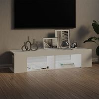 Meuble TV avec lumières LED Blanc 135x39x30 cm