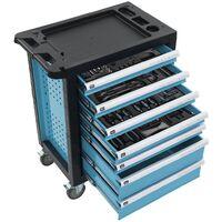 Chariot à outils pour atelier avec 270 outils Acier Bleu