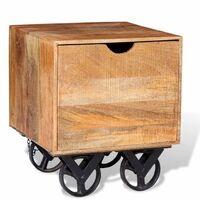 Table d'appoint tiroir et roues Bois de manguier 40 x 40 x 45cm