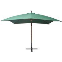Parasol 300x300 cm Poteau en Bois Vert