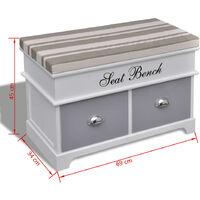Banc d'entrée et de rangement avec coussin gris 2 tiroirs Blanc