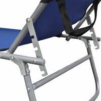Chaise Longue Pliable avec Auvent Acier et Tissu Bleu
