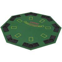Dessus de table de poker pour 8 joueurs 2 plis Octogonal Vert