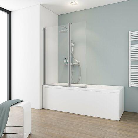Pare-baignoire rabattable 100 x 130 cm, paroi de baignoire 2 volets Schulte, écran de baignoire pivotant Komfort, verre transparent, profilé alu argenté