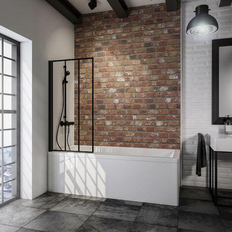 Pare-baignoire rabattable, 70 x 130 cm, verre 5 mm, paroi de baignoire 1 volet Schulte, écran de baignoire pivotant, profilé noir, verrière industrielle, décor rayures