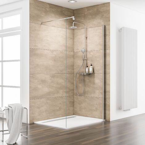 Paroi de douche à l'italienne, verre 8 mm, paroi fixe Walk In, profilé aspect chromé, MasterClass, Schulte, 90 x 200 cm - Transparent