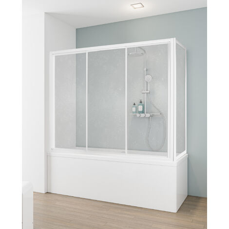 Pare-baignoire coulissant en niche, paroi de baignoire extensible, 3 volets, verre synthétique transparent, profilé blanc, 170 x 150 cm