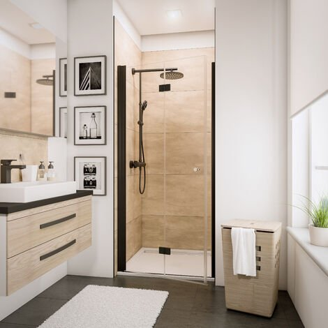 Porte de douche pivotante-pliante, verre 5 mm transparent anticalcaire, profié noir, style industriel, Schulte, 90 x 190 cm