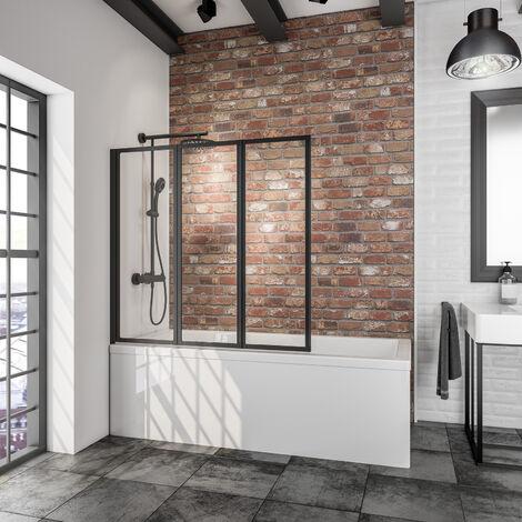 Pare-baignoire rabattable, sans percer, 127 x 140 cm, écran de baignoire pivotant à coller, paroi de baignoire Schulte, 3 volets, Verre transparent 5 mm, profilé noir - Transparent