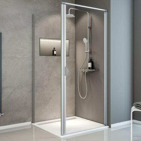Porte de douche pivotante + paroi de retour fixe, verre 5 mm transparent, Sunny ExpressPlus Schulte, profilé alu-nature, 90 x 90 x 185 cm