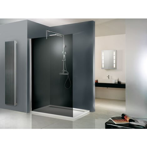 Paroi de douche à l'italienne, verre 6 mm, paroi fixe Walk In Free Schulte, verre fumé, 90 x 200 cm - Verre fumé