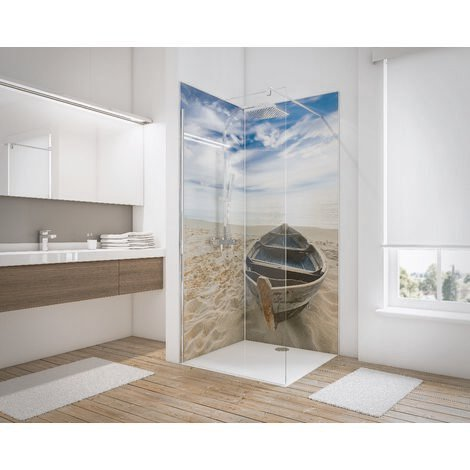 Lot de 2 panneaux muraux 90 x 210 cm, revêtement pour douche et salle de bains, DécoDesign PHOTO, Schulte, Bateau en angle