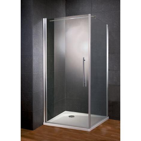 Porte de douche pivotante + paroi de retour fixe, 90 x 90 x 193 cm, verre 5 mm anticalcaire, profilé aspect chromé, Style 2.0, Schulte, Verre transparent