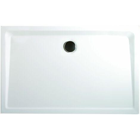 Receveur de douche acrylique, rectangulaire, extra plat à poser ou à encastrer, avec pieds, Schulte, 120 x 80 x 3,5 cm