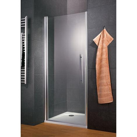 Porte de douche pivotante, 90 x 192 cm, verre 5 mm anticalcaire, profilé aspect chromé, Style 2.0, Schulte, Verre transparent  - Transparent